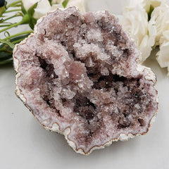 Rare Pink Amethyst Geode Cluster