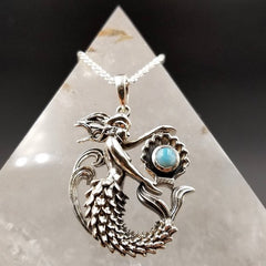 Mermaid Larimar Dolphin Blessed Pendant