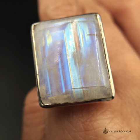 Rainbow Moonstone 5th Dimension Ring Size 9.5