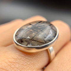 Black Tourmaline Quartz Silver Ring - Size 8