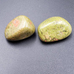 Set of 2 Unakite Tumbled Stones