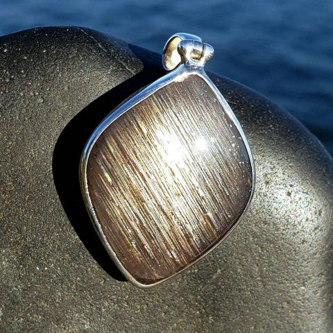 Meteor Shower Moonstone Sunstone Silver Pendant