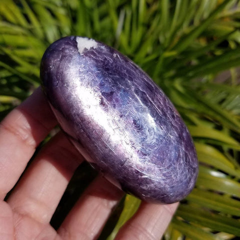 Flashy Gem Lepidolite Large Palm Stone