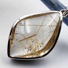 Large Golden Rutilated Quartz Silver Pendant