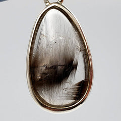Silver Rutilated Quartz Teardrop Pendant