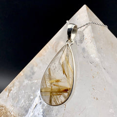 Golden Rutilated Quartz Silver Teardrop Pendant