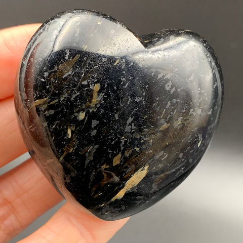 Genuine Nuummite Flashy Heart Palm Stone