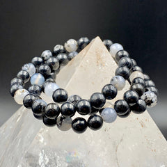 Merlinite Dendritic Agate Crystal Bead Stretch Bracelet