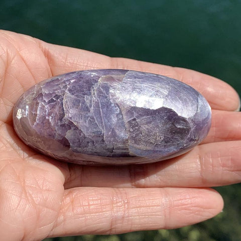Gem Lepidolite Lavender Flash Palm Stone