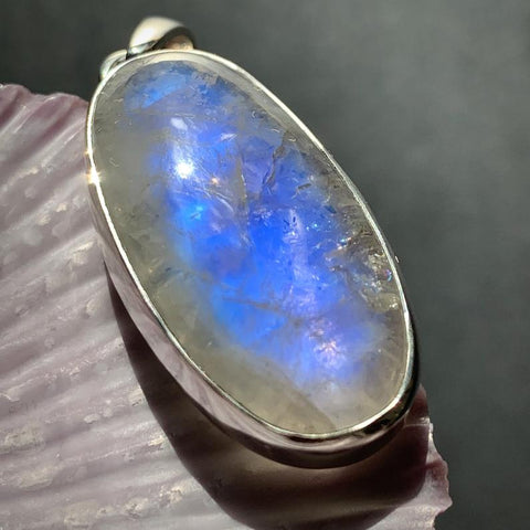 Moonstone Crystal Pendant Oval Shape Blue Glow