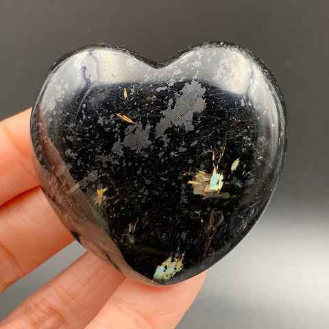 Greenland Nuummite Blue Flash Heart Palm Stone