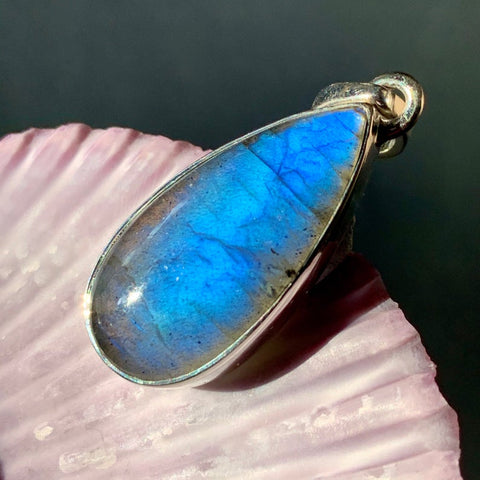 Labradorite Blue Flash Teardrop Silver Pendant