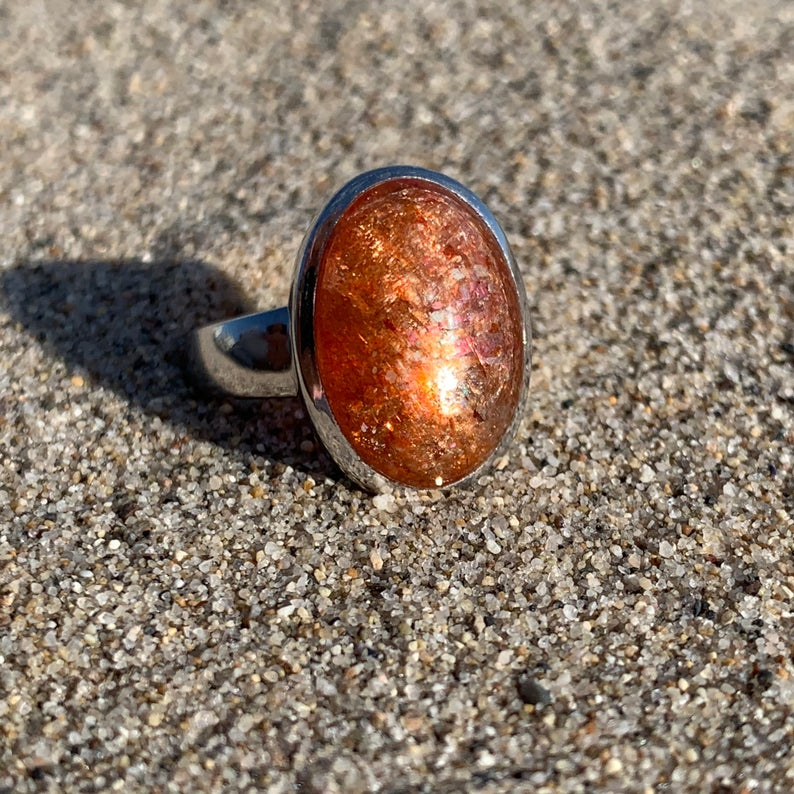Rainbow Sunstone Sterling Silver Ring - Size 8
