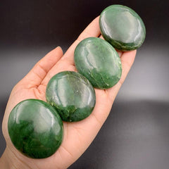 Nephrite Jade Palm Stone for Vitality and Prosperity