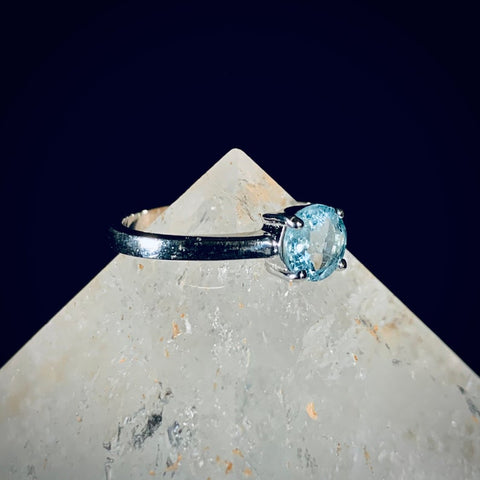 Aquamarine Solitaire Silver Ring - Size 6.5 & 7.5