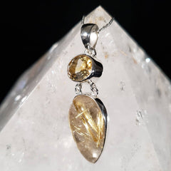 Citrine and Gold Rutilated Quartz Silver Pendant