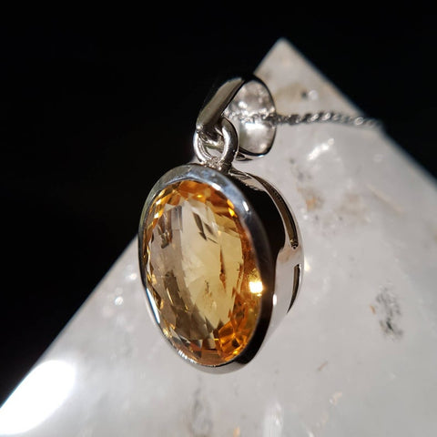 Natural Citrine Oval Sterling Silver Pendant