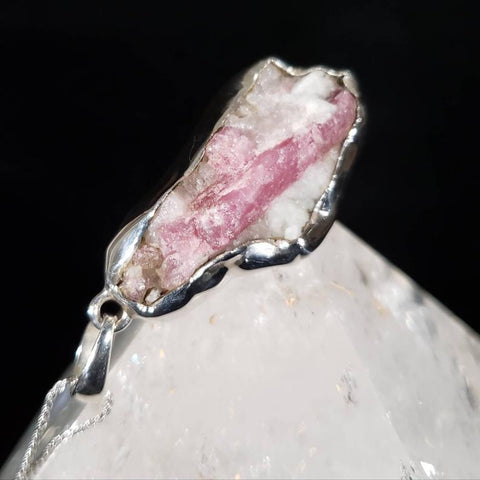Pink Tourmaline Raw Crystal Silver Pendant