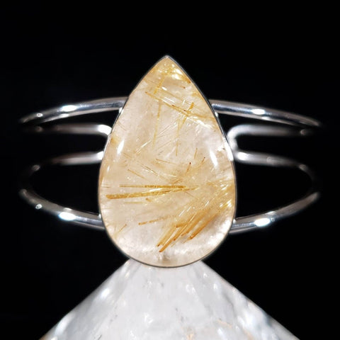 Golden Rutilated Quartz Adjustable Cuff Bracelet