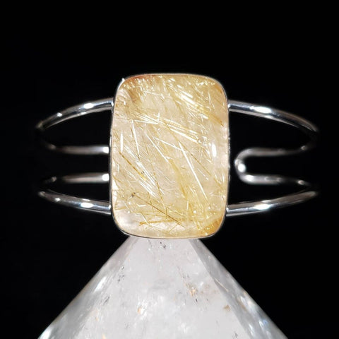 Golden Rutilated Quartz Silver Cuff Bracelet
