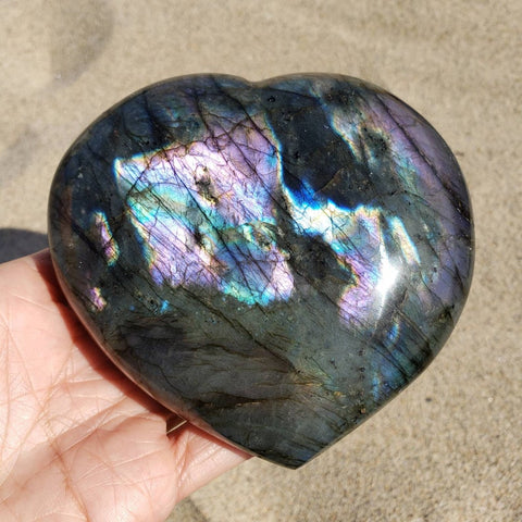 Purple Labradorite Rainbow Heart 4.1""