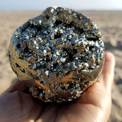 "Pyrite Sphere 2.8"" Cluster Geode Ball"