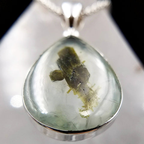 Prehnite and Rutilated Epidote Teardrop Pendant
