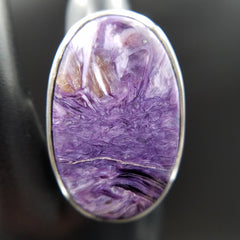 Charoite Adjustable Statement Ring