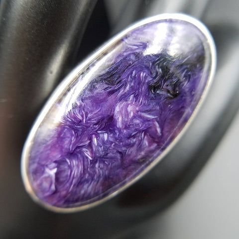 Charoite Size 8 / 9 Adjustable Silver Ring