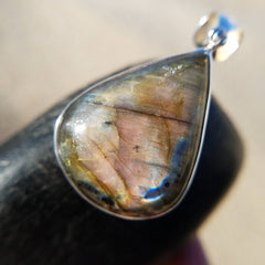 Rose Gold Labradorite Flash Sterling Silver Pendant