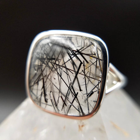 Black Tourmaline in Quartz Silver Ring - Size 10