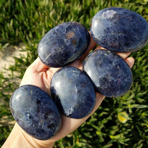 Iolite Sunstone Galaxy Palm Stone