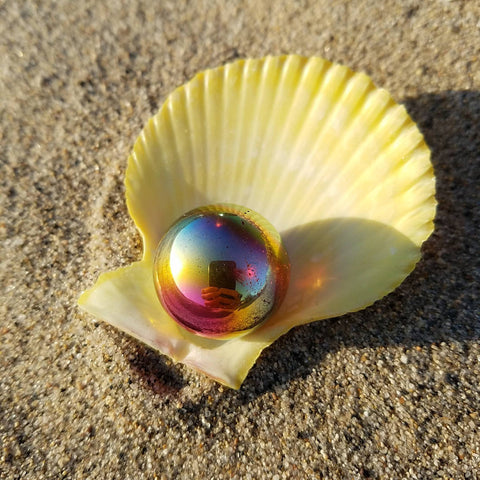 Golden Rainbow Aura Quartz Sphere and Shell