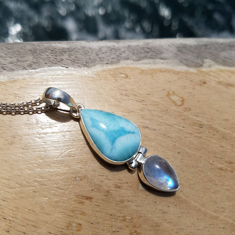 Larimar and Moonstone Silver Pendant