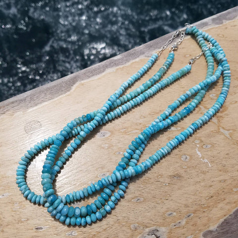 Larimar Dolphin Blessed Beaded Necklace