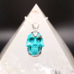 Genuine Turquoise and Pyrite Skull Pendant