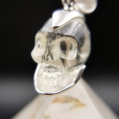 Genuine Quartz Crystal Skull Pendant