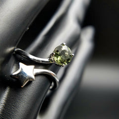 Genuine Shooting Star Moldavite Adjustable Ring