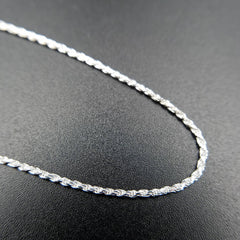 Adjustable Diamond Cut Silver Rope Chain