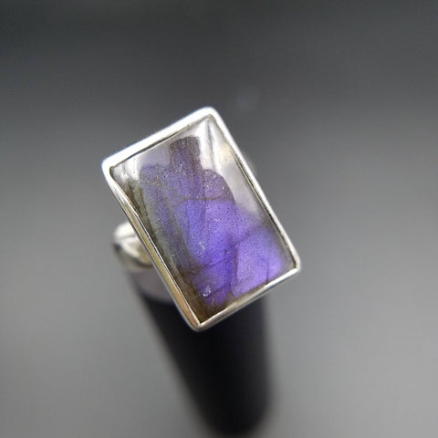 Purple Labradorite Adjustable Ring