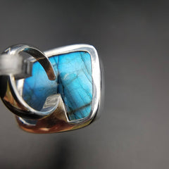Aqua Blue Labradorite Adjustable Ring