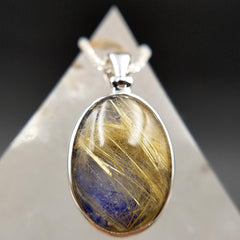 Lapis Lazuli and Golden Rutilated Quartz Pendant