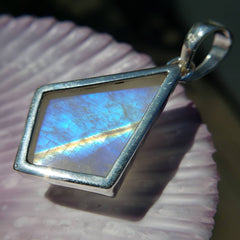 Moonstone Blue Flame Pendant