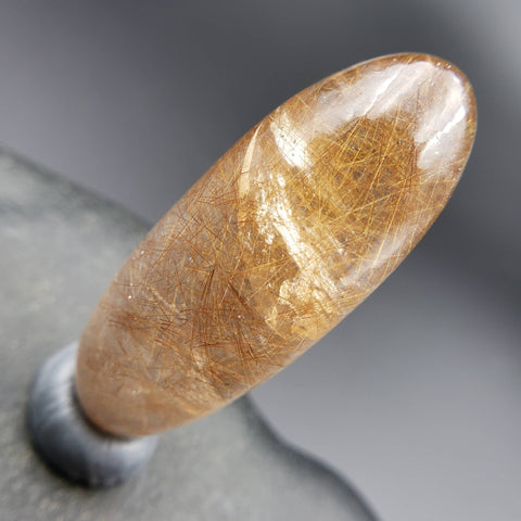 Golden Rutilated Quartz Shiva Lingam Palm Stone