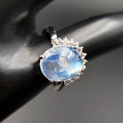 Moonstone & White Topaz Halo Ring Size 6