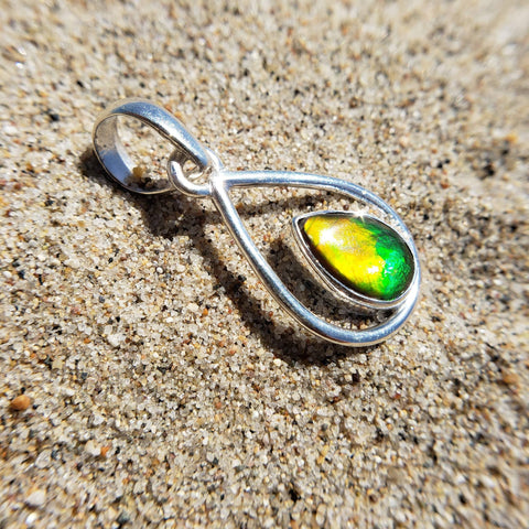 Ammolite Water Drop Pendant