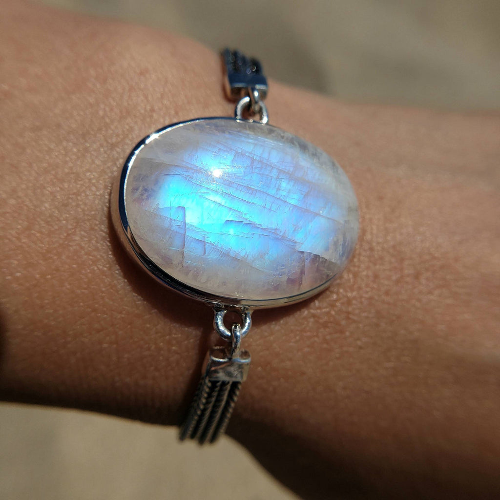 Blue Moonstone Silver Statement Bracelet