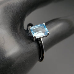 Blue Topaz Emerald Cut Solitaire Ring Size 6