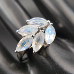 Inner Peace Moonstone Goddess Ring Size 10