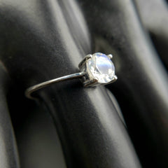 Rainbow Moonstone Solitaire Ring Size 8